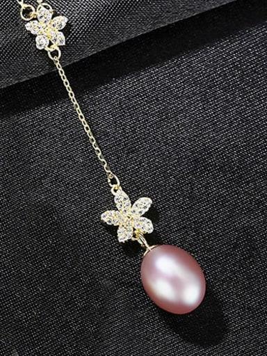 Purple 7b06 925 Sterling Silver Freshwater Pearl Flower Minimalist Necklace