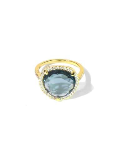gold Copper Cubic Zirconia Multi Color Heart Minimalist Cocktail Ring