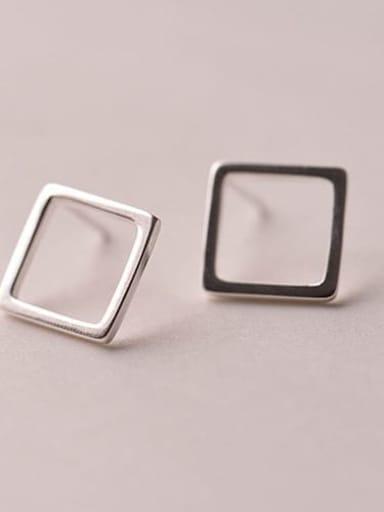 Square IN C12 925 Sterling Silver  Hollow Geometric Minimalist Stud Earring