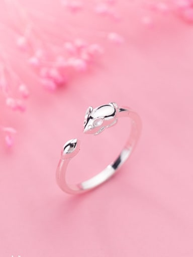 925 Sterling Silver Glossy Little Mouse Free Size Ring