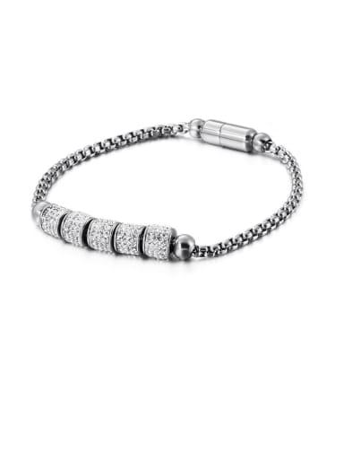 Stainless Steel Rhinestone White Round Vintage Link Bracelet