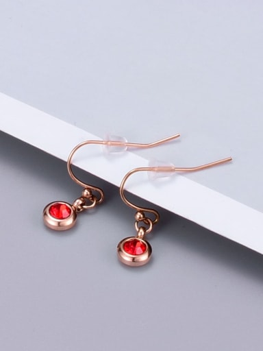 E121 red drilling ear wire Titanium Glass Bead Coin Minimalist Hook Earring