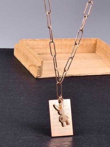 Titanium Geometric Minimalist rabbit pendant  Necklace