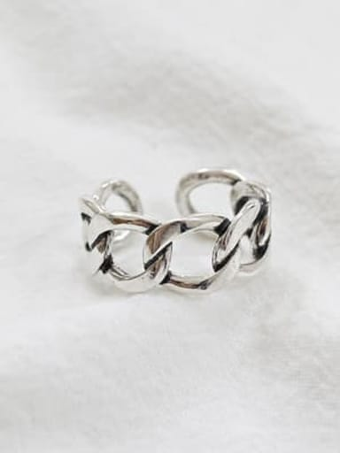 925 Sterling Silver Hollow Geometric Minimalist Free Size Band Ring