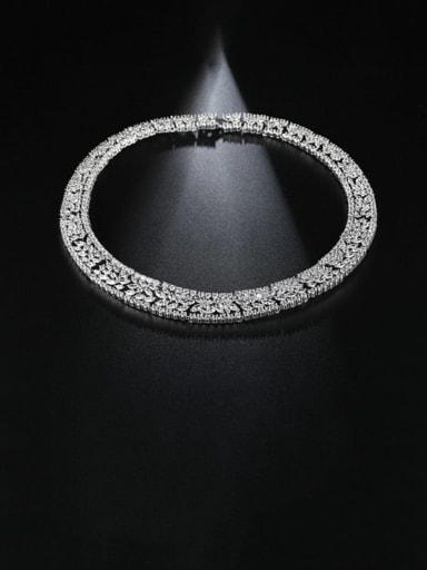 Copper Cubic Zirconia Geometric Luxury Choker Necklace