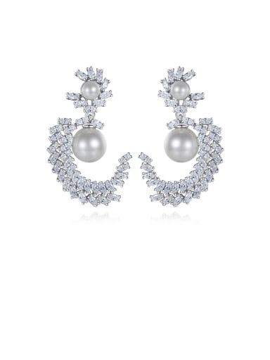 platinum-T04I01 Copper Cubic Zirconia White Irregular Dainty Drop Earring