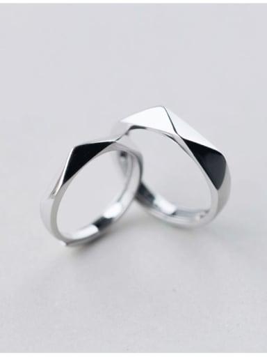 925 Sterling Silver Geometric Minimalist Couple Ring