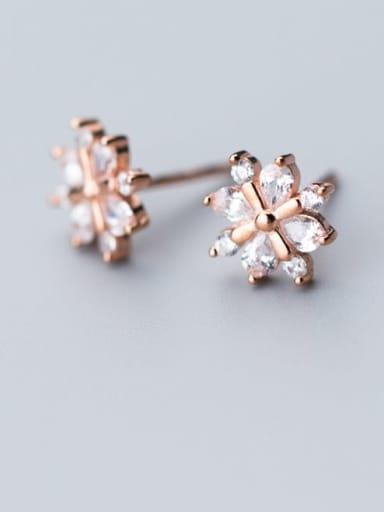 925 Sterling Silver Cubic Zirconia  Flower Dainty Stud Earring