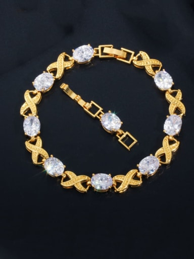 Copper Cubic Zirconia Geometric Luxury Bracelet