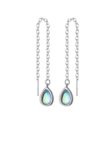 925 Sterling Silver Multi Color Water Drop Minimalist Threader Earring