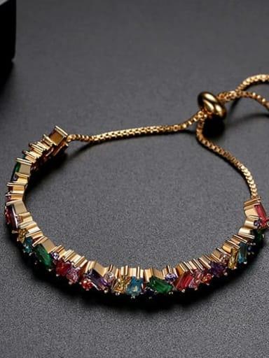 Color plating 18K t14e16 Copper Cubic Zirconia Square Ethnic Link Bracelet