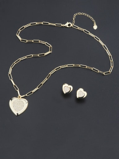 Brass Statement Heart  Rhinestone Earring and Necklace Set