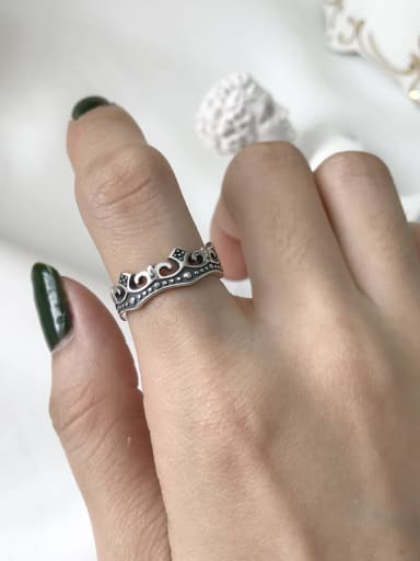 925 Sterling Silver Cross Vintage Free Size Band Ring