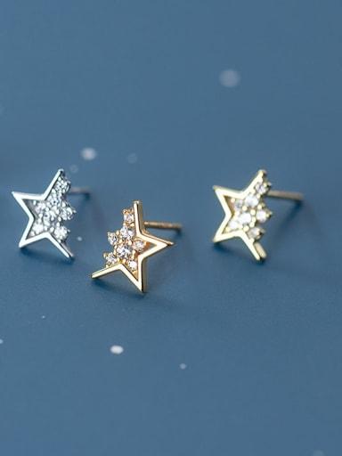 925 Sterling Silver Cubic Zirconia Five-pointed star Minimalist Drop Earring