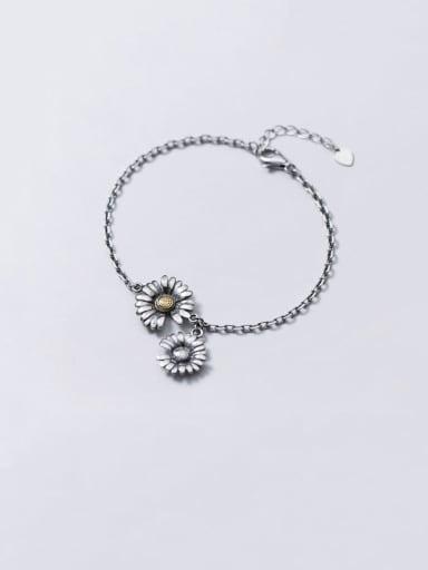 925 Sterling Silver Enamel Flower Vintage Link Bracelet