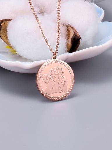 Rose Gold Titanium  Cupid Angel Necklace