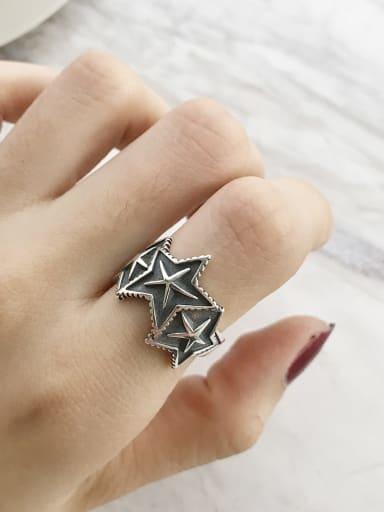 925 Sterling Silver Pentagram Vintage Free Size Band Ring