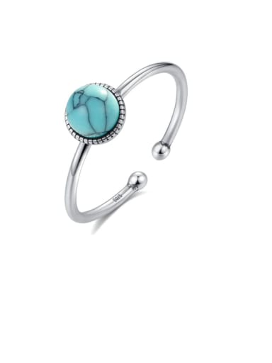 925 Sterling Silver Minimalist Round  Turquoise  Band Ring