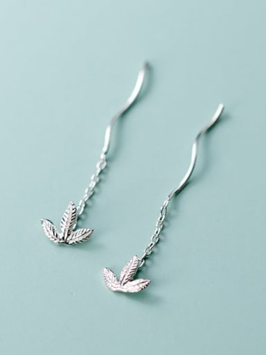 925 Sterling Silver Rhinestone  Leaf Minimalist Threader Earring