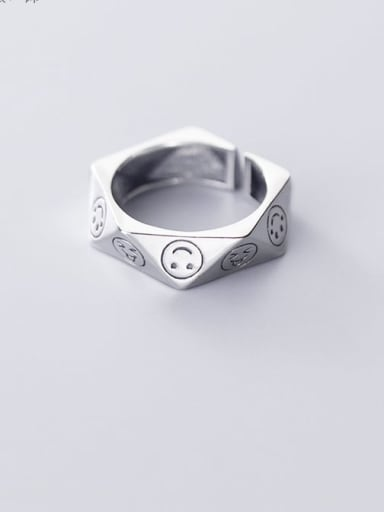 925 Sterling Silver minimalist cute smiley face personality irregular Pentagon Band Ring