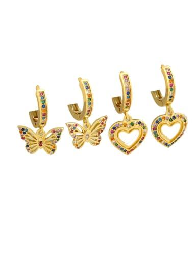 Brass Cubic Zirconia Heart Dainty Huggie Earring