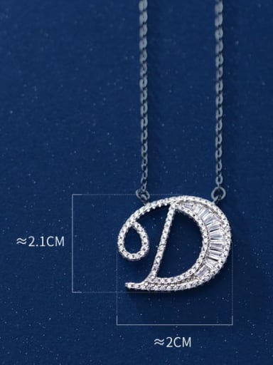 Letter D 925 Sterling Silver Simple Fashion full diamond letters pendant  Necklace