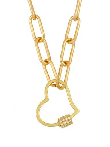 love Alloy Cubic Zirconia Heart Minimalist  chain Necklace