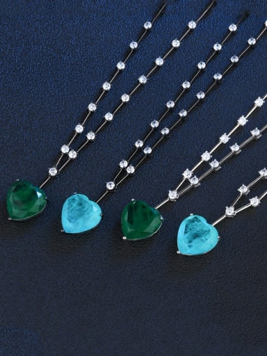 Copper Glass Stone Heart Vintage Necklace