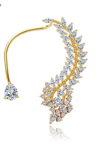 gold Copper Cubic Zirconia White Leaf Luxury Stud Earring