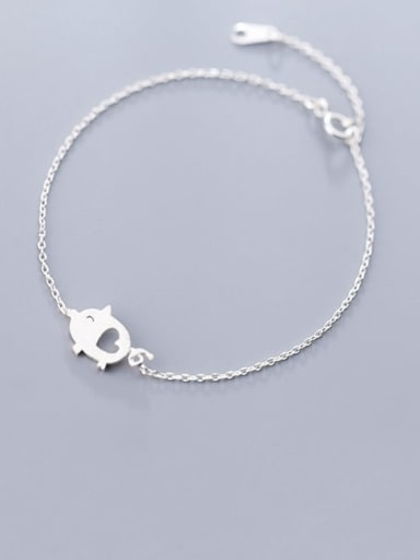 S925 silver fashion temperament brushed love piggy Bracelet
