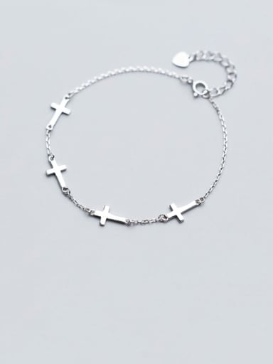 925 Sterling Silver Smooth Cross Minimalist Link Bracelet
