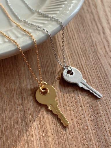 925 Sterling Silver Retro Smooth Key  pendant Necklace