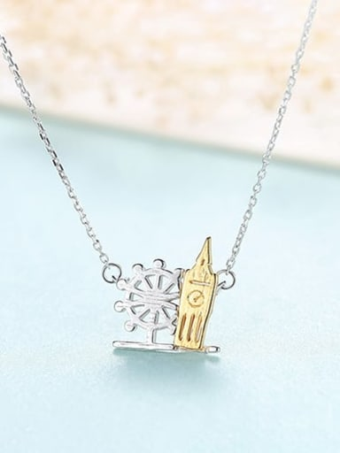 15I09 925 sterling silver simple personalized building, necklace