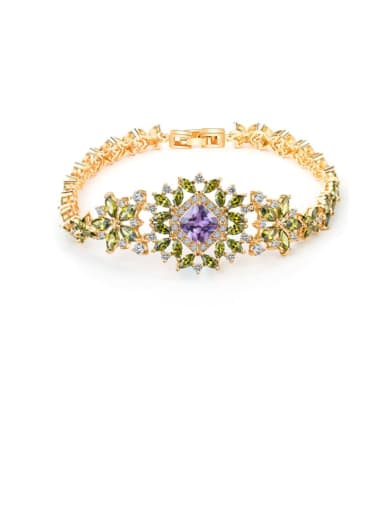 Copper Cubic Zirconia Multi Color Flower Luxury Bracelet