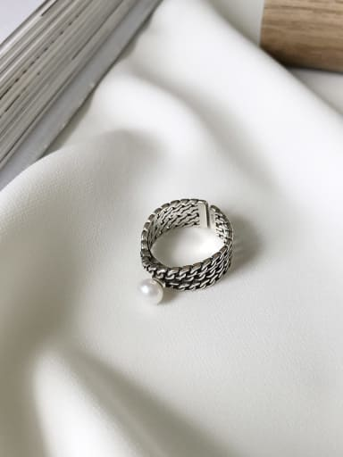 925 Sterling Silver Imitation Pearl Artisan Solitaire Ring