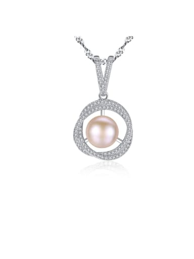 925 Sterling Silver 3A Zircon Freshwater Pearl Pendant Necklace