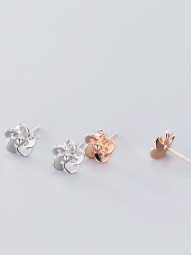 925 Sterling Silver Rhinestone Flower Minimalist Stud Earring