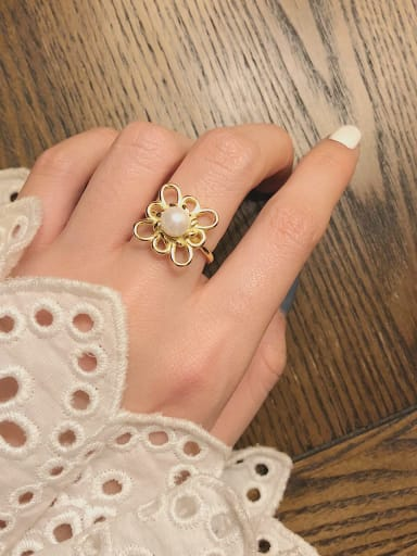 925 Sterling Silver Imitation Pearl Hollow  Flower Minimalist Free Size Band Ring