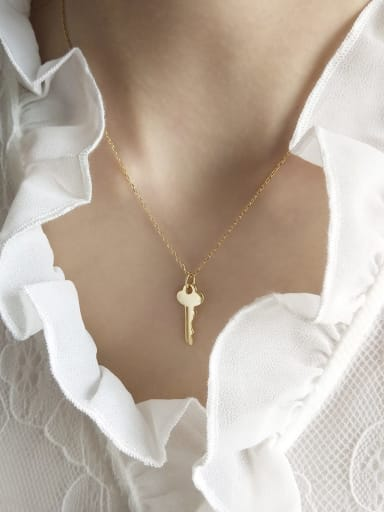 925 Sterling Silver  Simple key pendant  Necklace