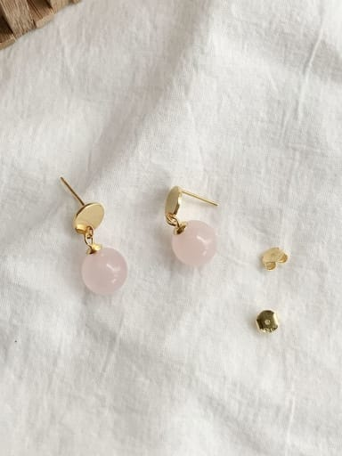 925 Sterling Silver Bead Pink Round Minimalist Stud Earring