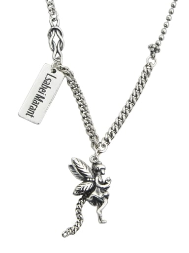 Vintage Sterling Silver With Antique Silver Plated Fashion Angel Power Necklaces