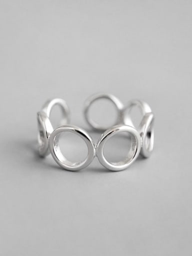 925 Sterling Silver Hollow  Round Minimalist  Free Size Band Ring