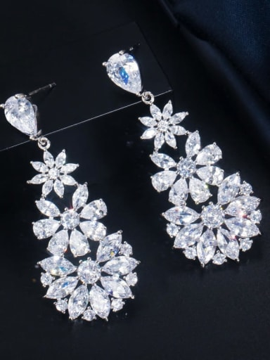 Platinum White Stone Brass Cubic Zirconia Flower Luxury Cluster Earring