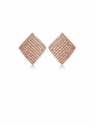 Copper Cubic Zirconia Square Dainty Stud Earring
