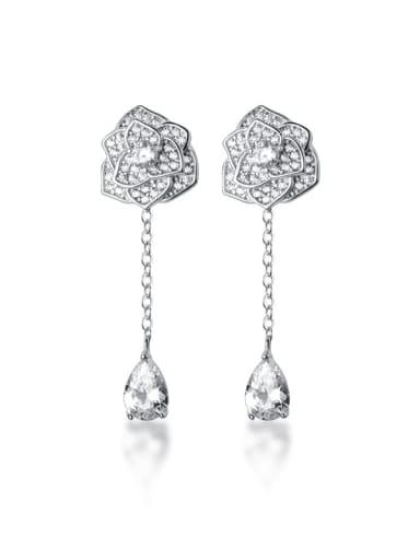 925 Sterling Silver Cubic Zirconia  Flower Dainty Drop Earring