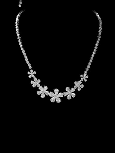 Copper Cubic Zirconia Flower Luxury Necklace