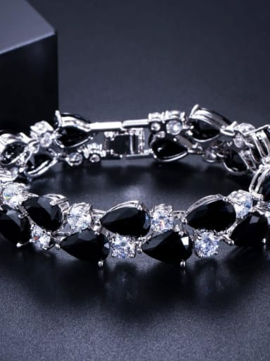 Black 19cm Copper Cubic Zirconia Geometric Luxury Bracelet