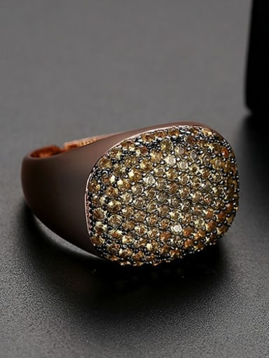 Yellow zirconium Copper Rhinestone Geometric Minimalist  Free Size Band Ring