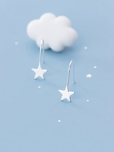925 Sterling Silver With  Minimalist Smooth Star Hook Earrings