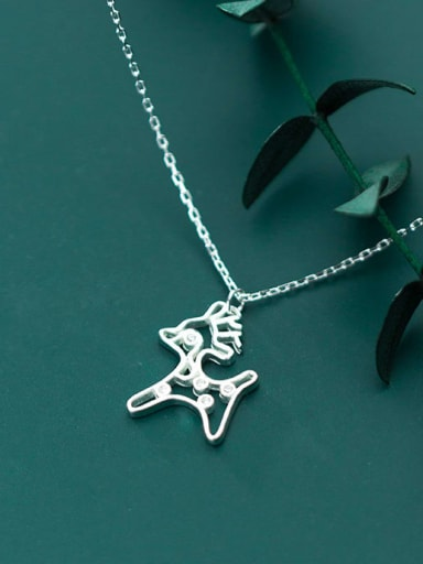925 Sterling Silver Hollow deer Minimalist Necklace